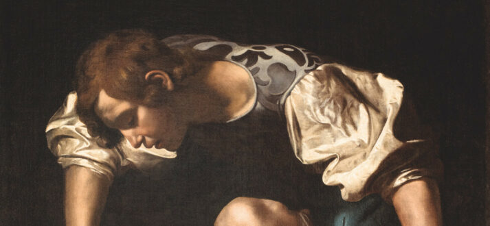 Narcissus door Caravaggio (detail)