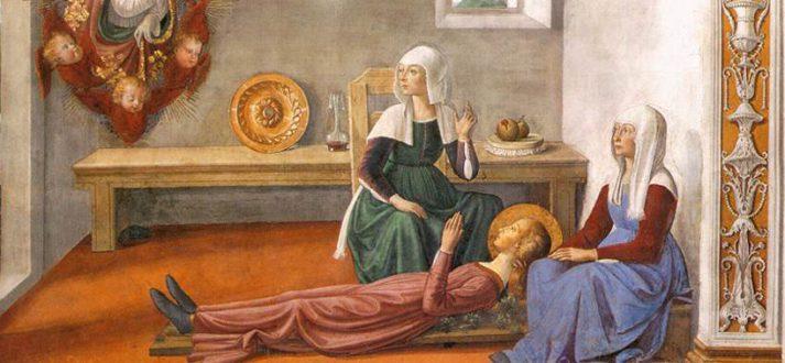 De heilige Fina op een fresco van Domenico Ghirlandaio (detail)