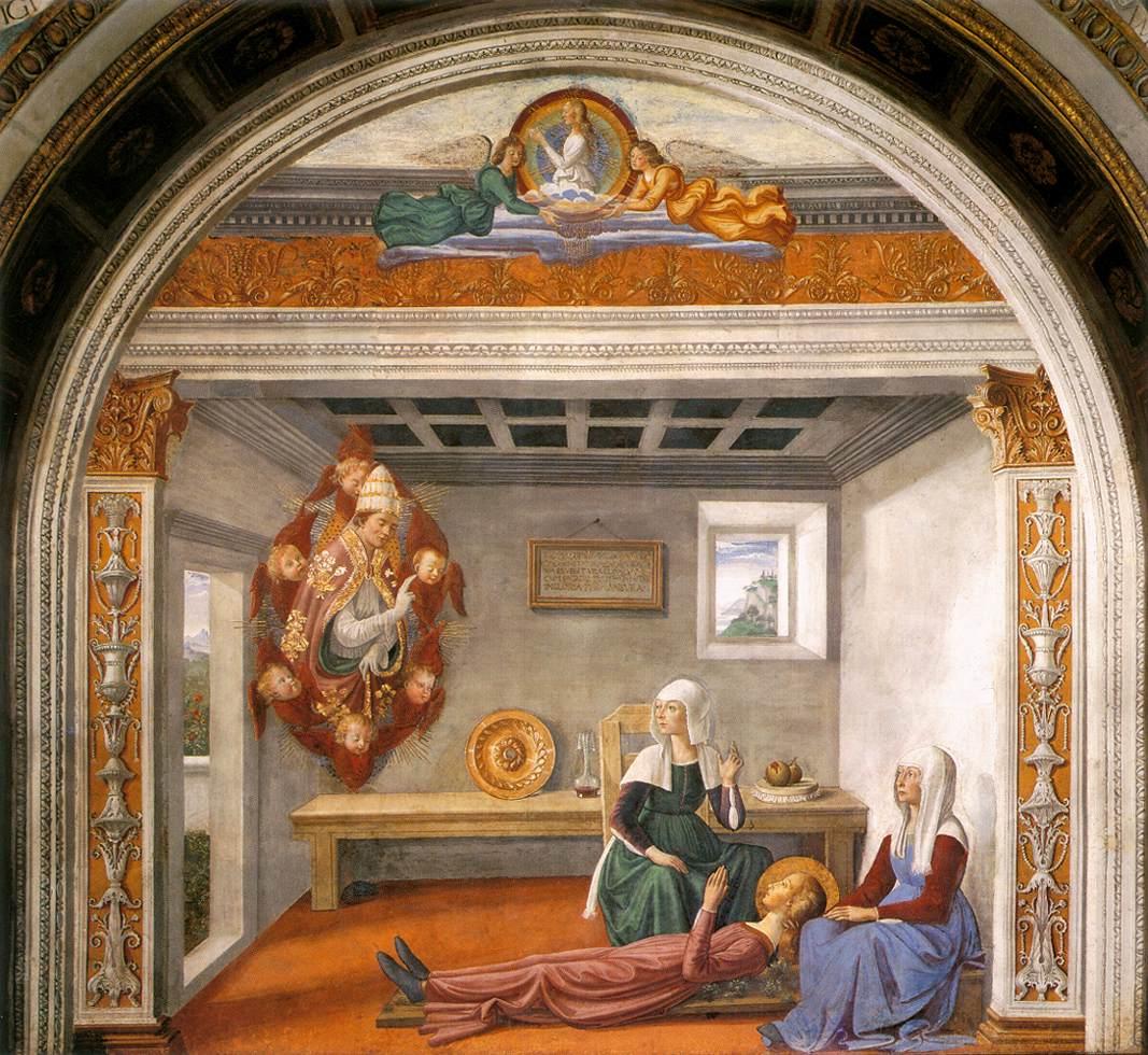 De heilige Fina op een fresco van Domenico Ghirlandaio