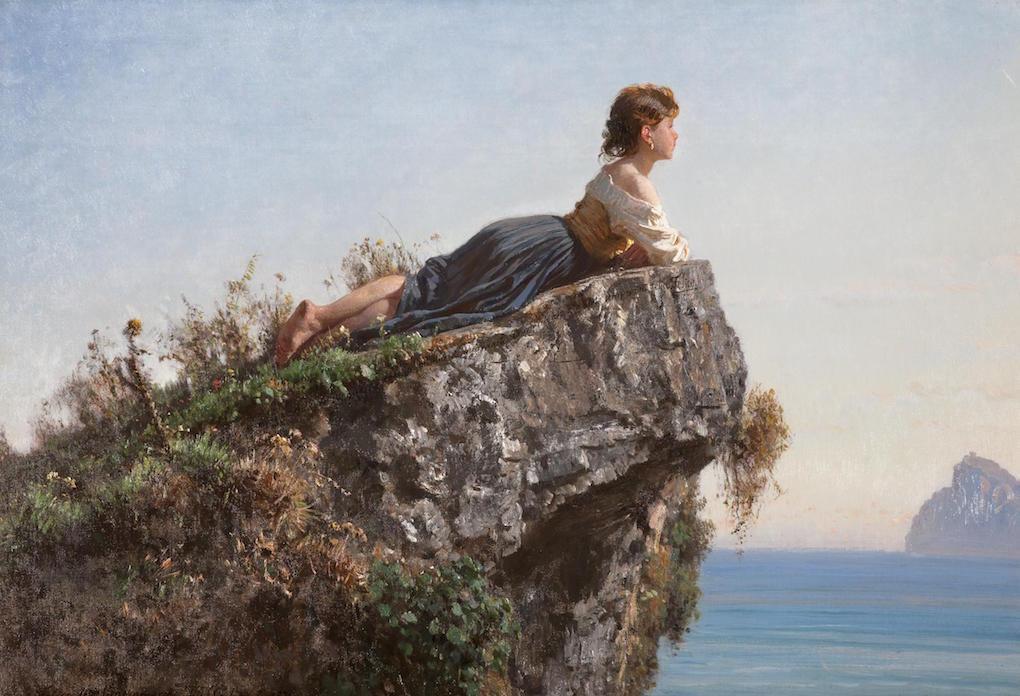 Filippo Palizzi - Meisje op een rots bij Sorrento
