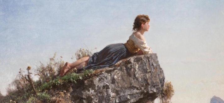Filippo Palizzi - Meisje op een rots (detail)