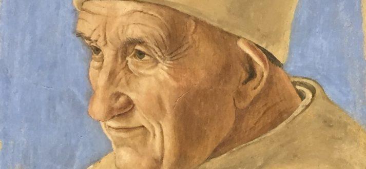 Frescoschilderen op een dakpan: portret van een oude man