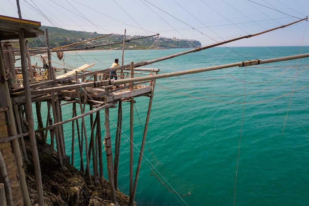 Een trabucco in de Gargnano, Puglia