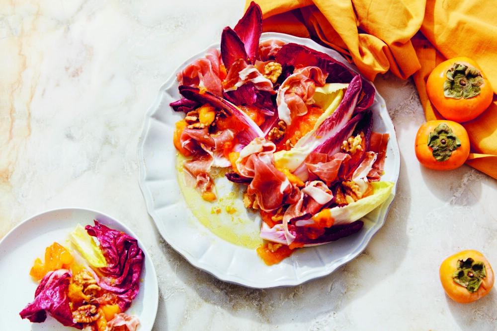 Recept voor kaki's met rauwe ham uit het kookboek Bitterzoete honing