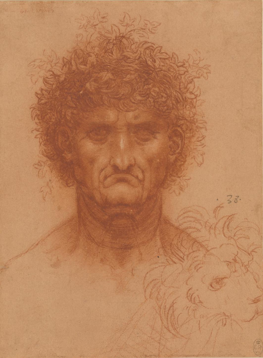 Leonardo da Vinci - Hoofd van een man, en face, en de kop van een leeuw