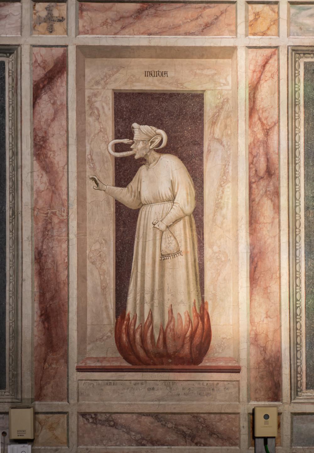 Invidia - een van de ondeugden in de Cappella degli Scrovegni in Padova