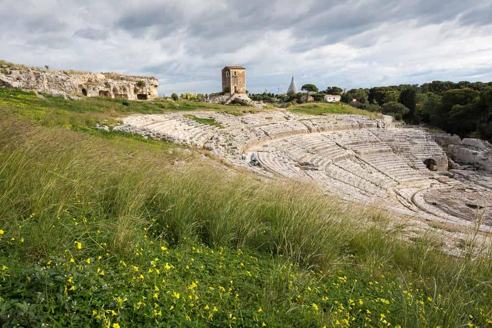 Het Griekse theater van Siracusa, aan de oostkant van Sicilië