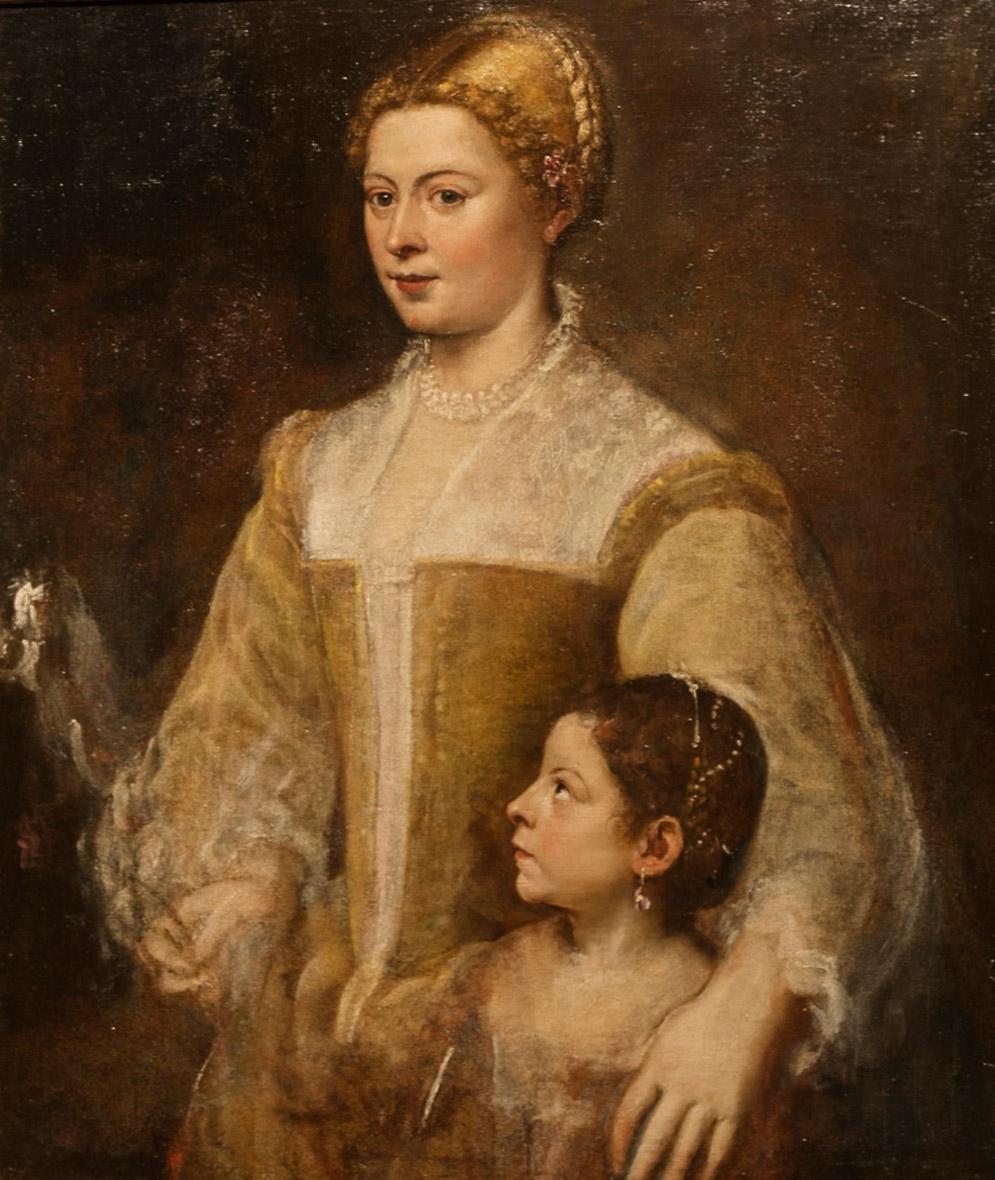 Portret van een dame en haar dochter, van Titiaan