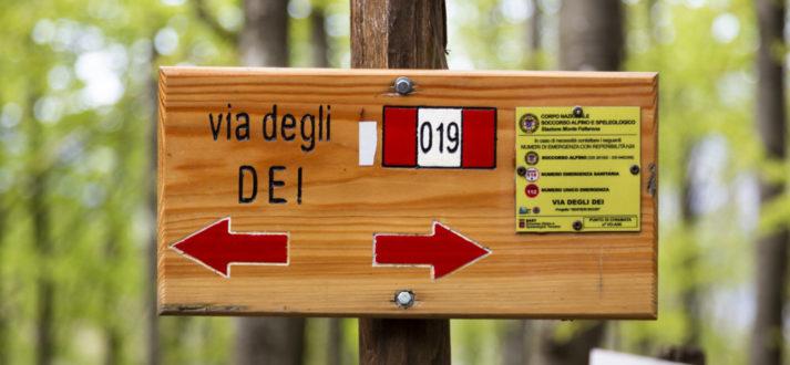 Routebordje Via degli Dei