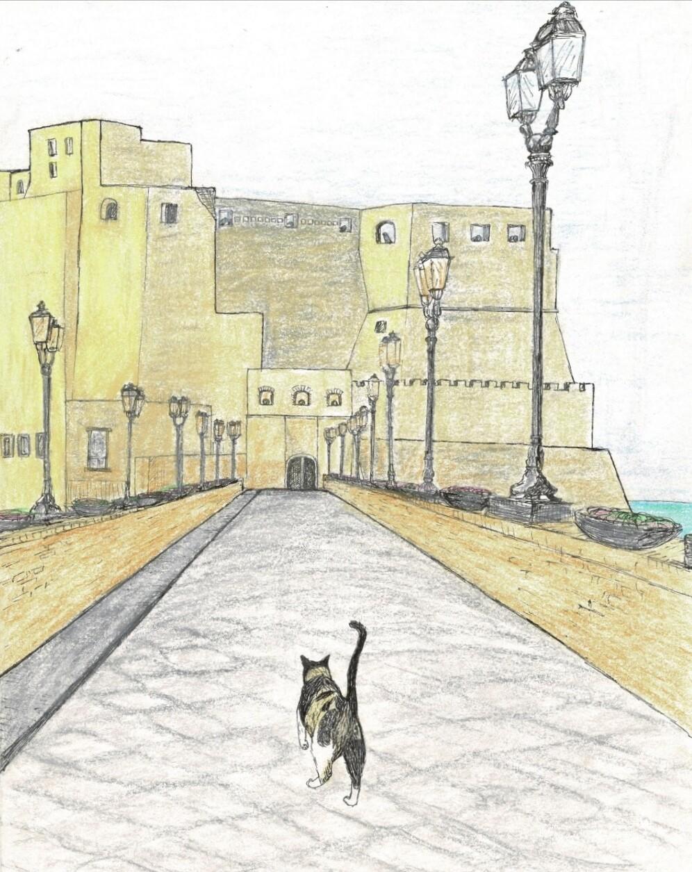 Verdwaald in Napels -- Castel dell'Ovo geïllustreerd door Leny Boerstra